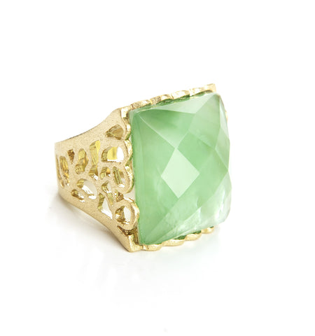Apple Green + Mother Of Pearl Doublet  Square Scalloped Edge Cocktail Ring