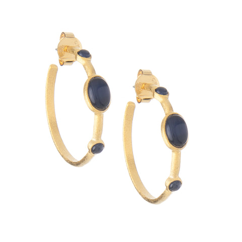 Navy Blue Cat's Eye 3/4 Hoop Earrings