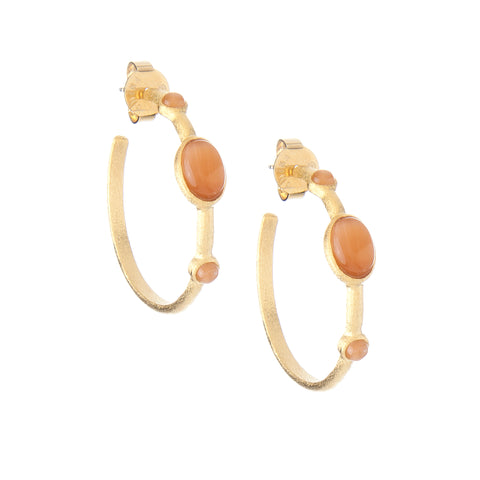 Orange Cat's Eye 3/4 Hoop Earrings