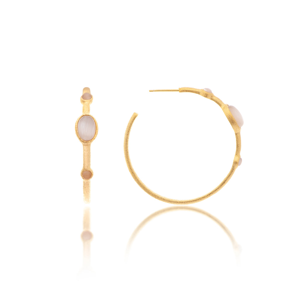 White Cat's Eye 3/4 Hoop Earrings