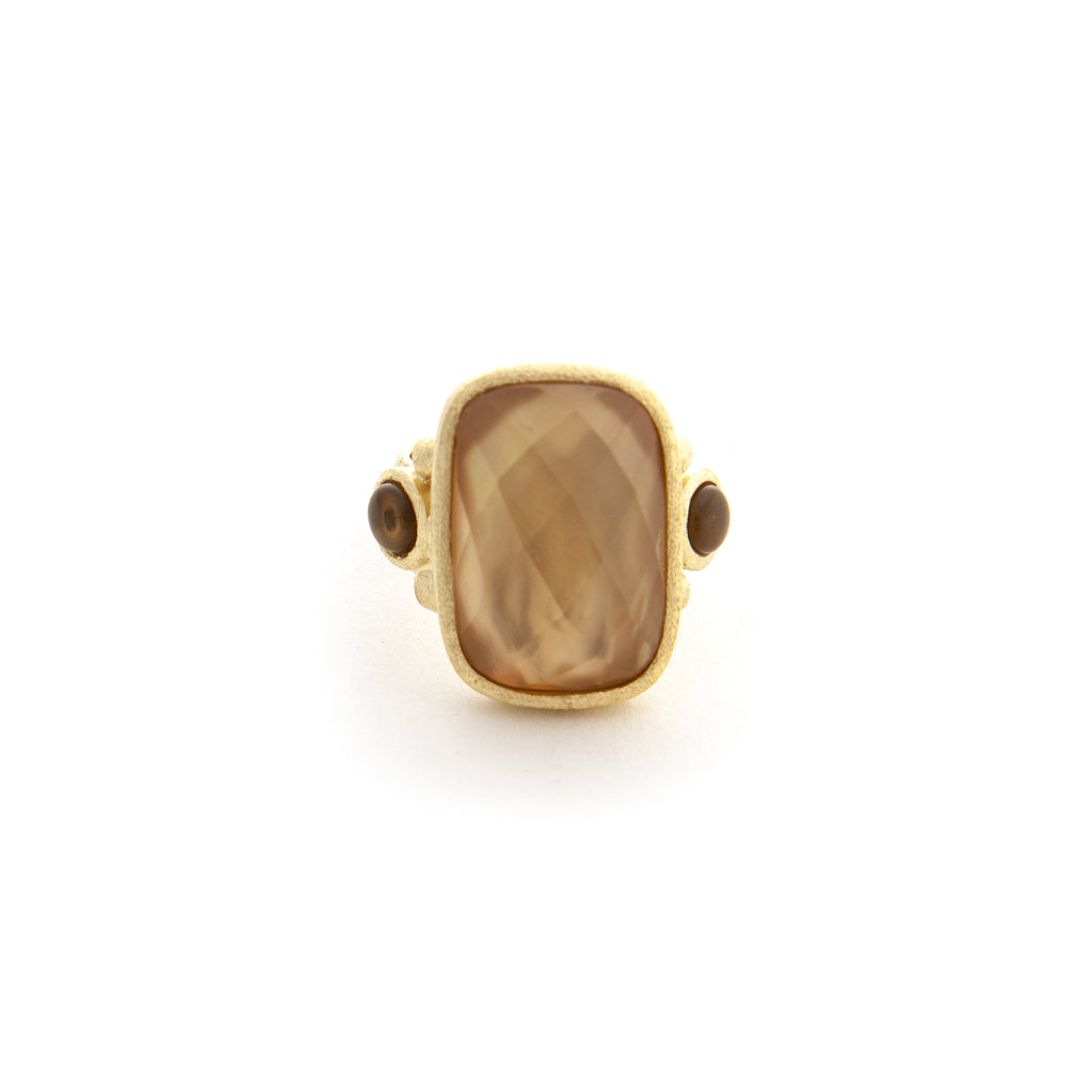 Citrine Crystal Doublet Cocktail Ring