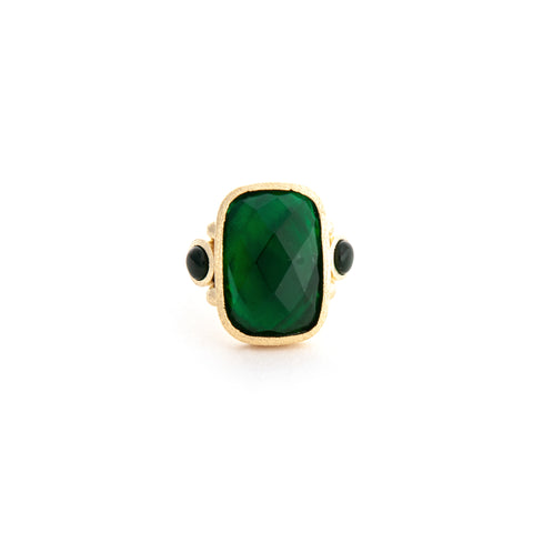 Emerald + Mother of Pearl Doublet Cocktail Ring