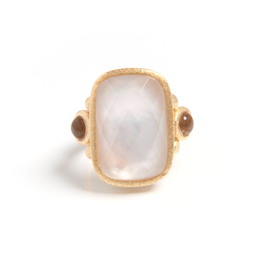 Rock Crystal Mother of Pearl Doublet + Grey Chalcedony Cocktail Ring