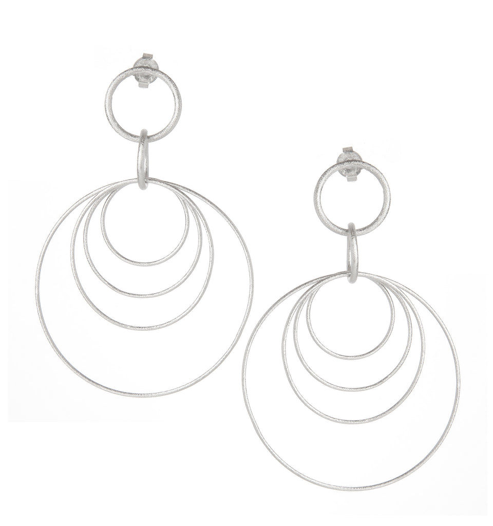 Multi Circle Rhodium Satin Dangle Earrings