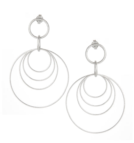 Rhodium Multi Satin Ring Earrings