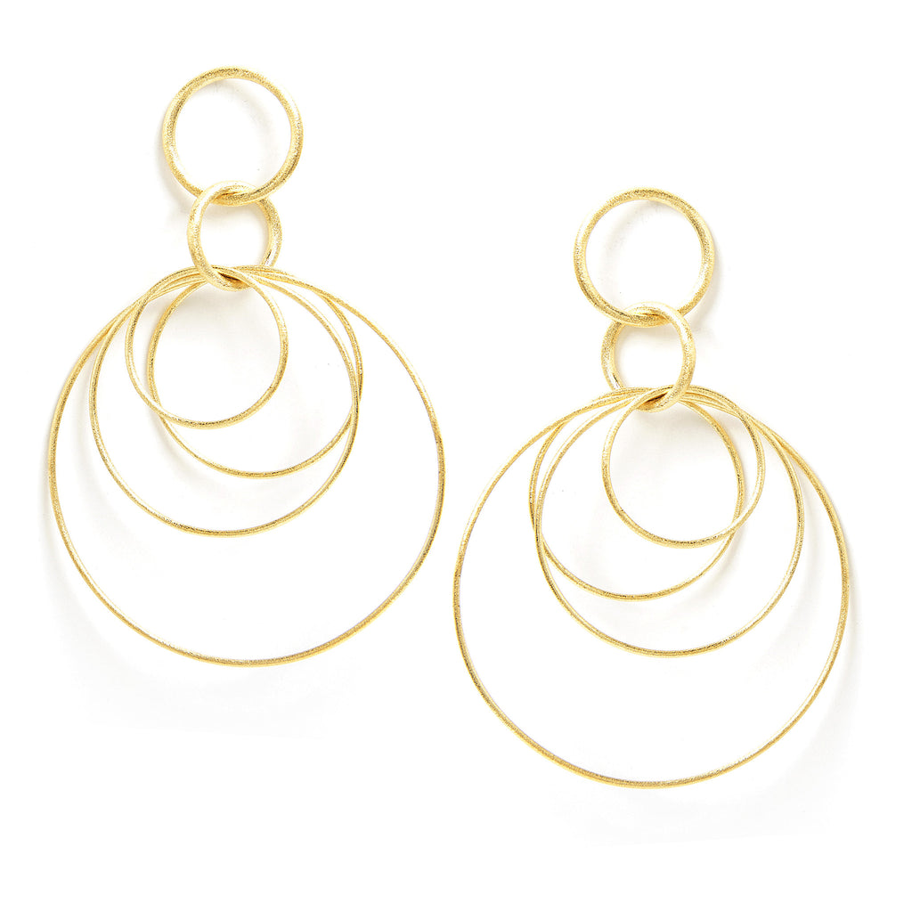 Multi Circle Satin Dangle Earrings
