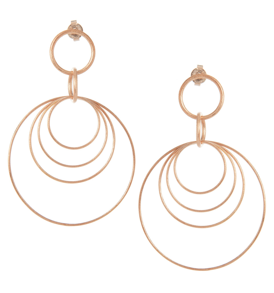 Multi Circle Rose Gold Satin Dangle Earrings