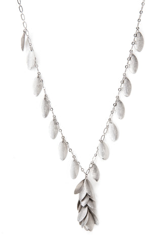 Rhodium Satin Teardrop Statement Necklace