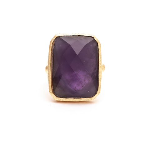 Amethyst + Mother of Pearl Doublet Cocktail Ring