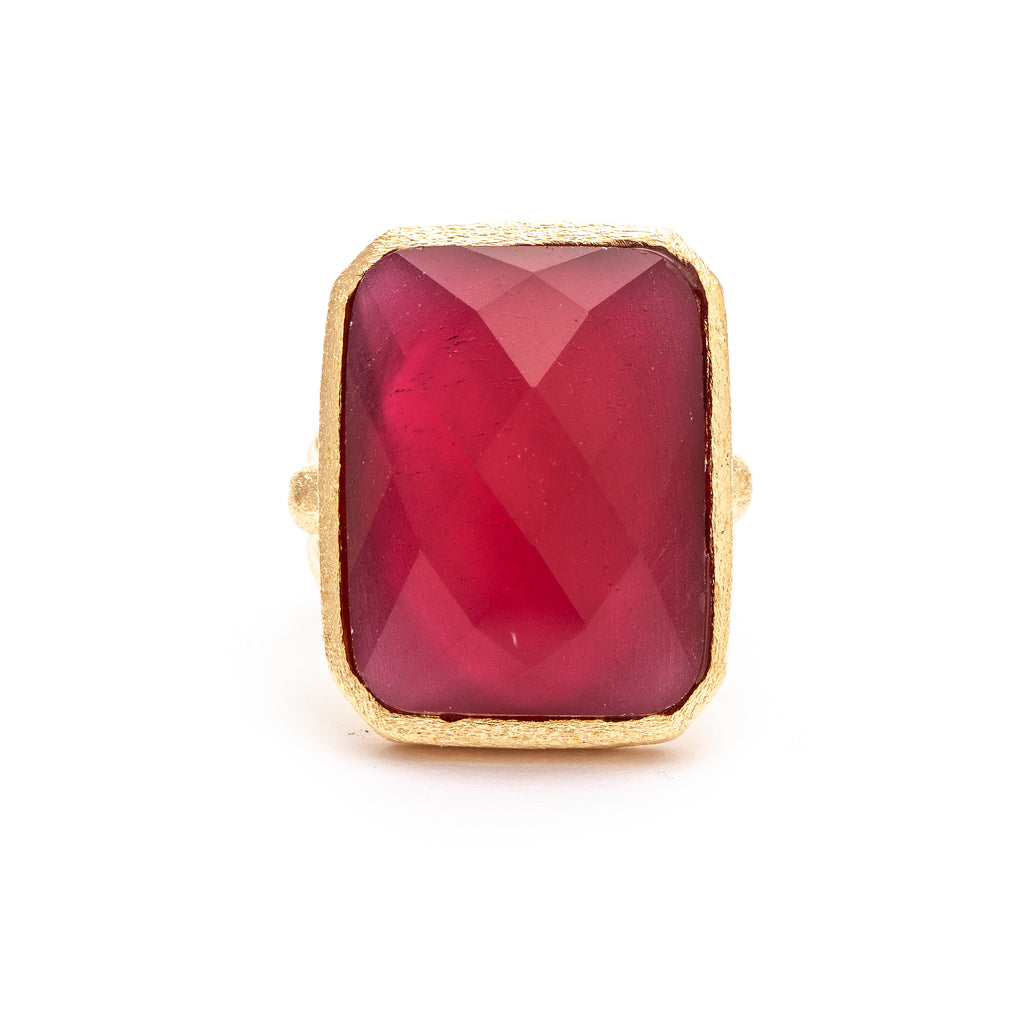 Rubellite Crystal Doublet Cocktail Ring