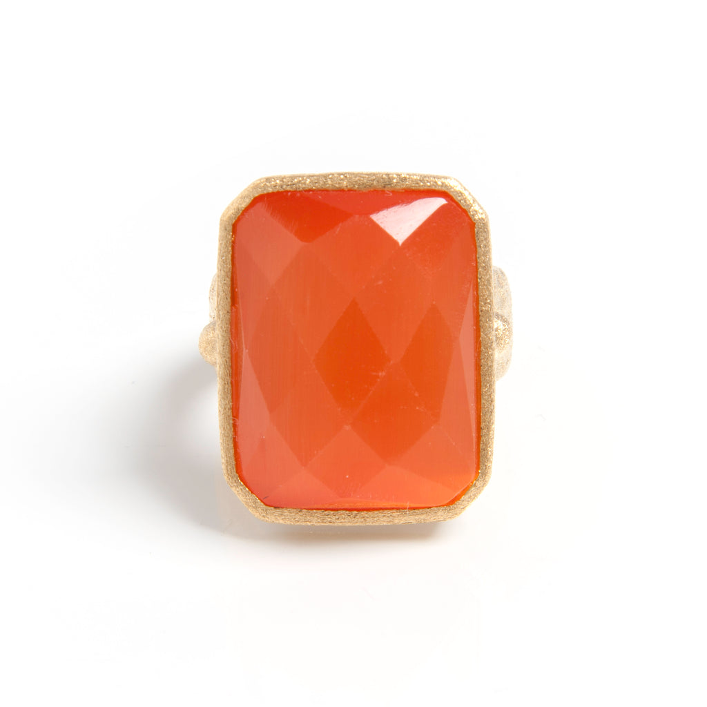 Orange Cat's Eye Cocktail Ring