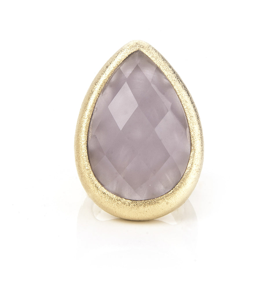 Lavender Chalcedony Teardrop Cocktail Ring