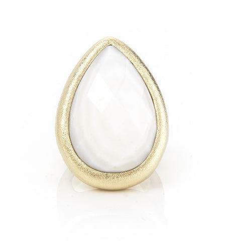 Mother Of Pearl Teardrop Cocktail Ring