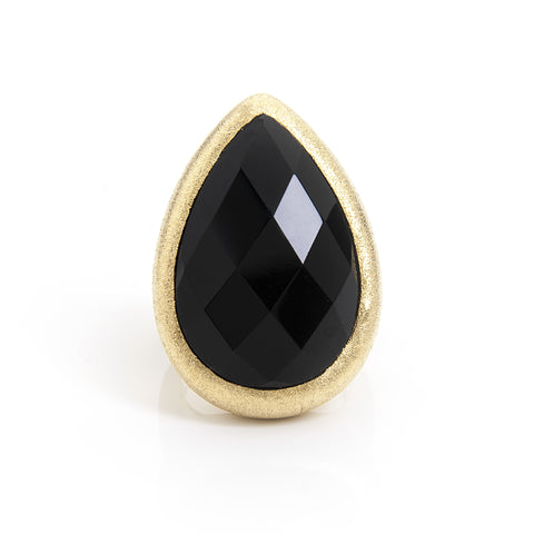 Black Onyx Teardrop Cocktail Ring