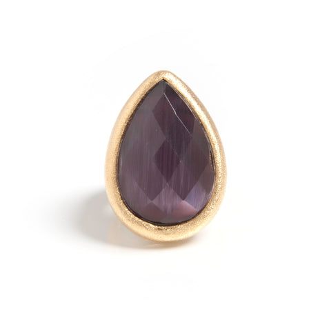 Purple Cat's Eye Teardrop Cocktail Ring