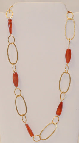 Carnelian Station Link Necklace - Closeout