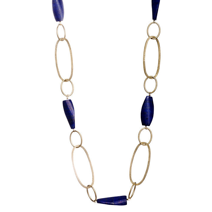 Lapis Station Link Necklace - Closeout