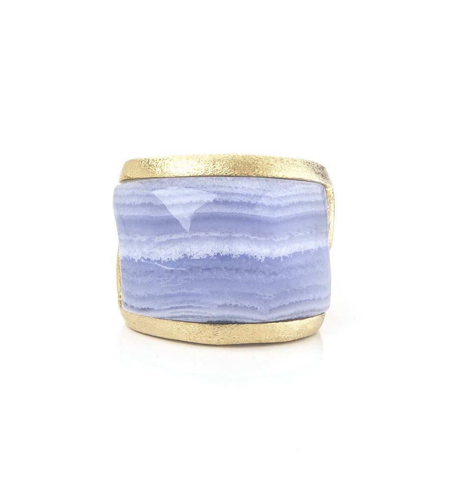 Blue Lace Agate Carved East West Scroll Cocktail Ring