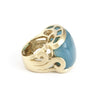 Caribbean Blue Quartzite East West Scroll Cocktail Ring