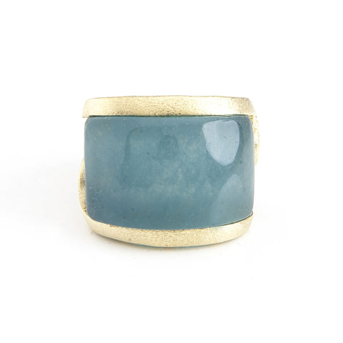 Caribbean Blue Quartzite Carved East West Scroll Cocktail Ring