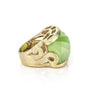 Lime Cat's Eye Carved East West Scroll Cocktail Ring