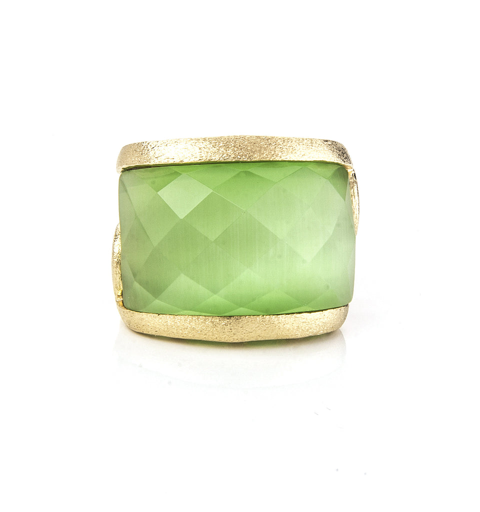 Lime Cat's Eye East West Scroll Ring