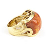 Coral Satin Carved East West Scroll Cocktail Ring