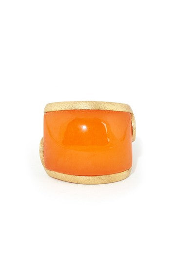 Orange Quartzite Carved East West Scroll Cocktail Ring