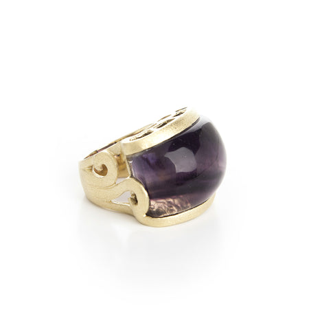 Fluorite Carved East West Scroll Cocktail Ring - Closeout