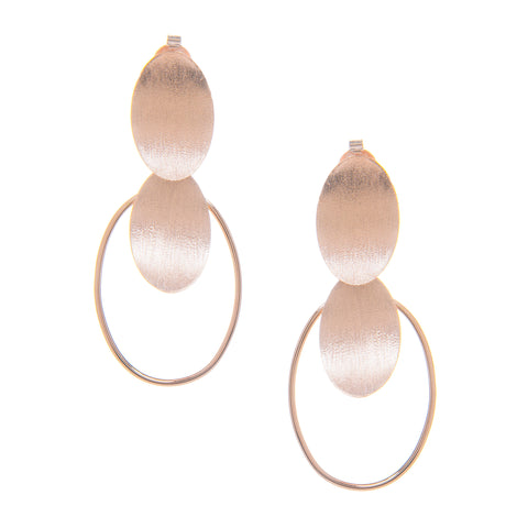 Rose Gold Concave Oval Disc Dangle Earrings