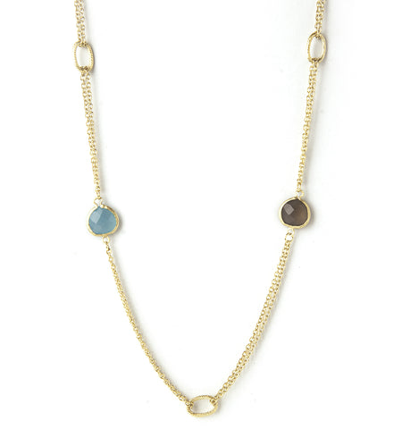 Caribbean Blue + Grey Chalcedony Station Necklace