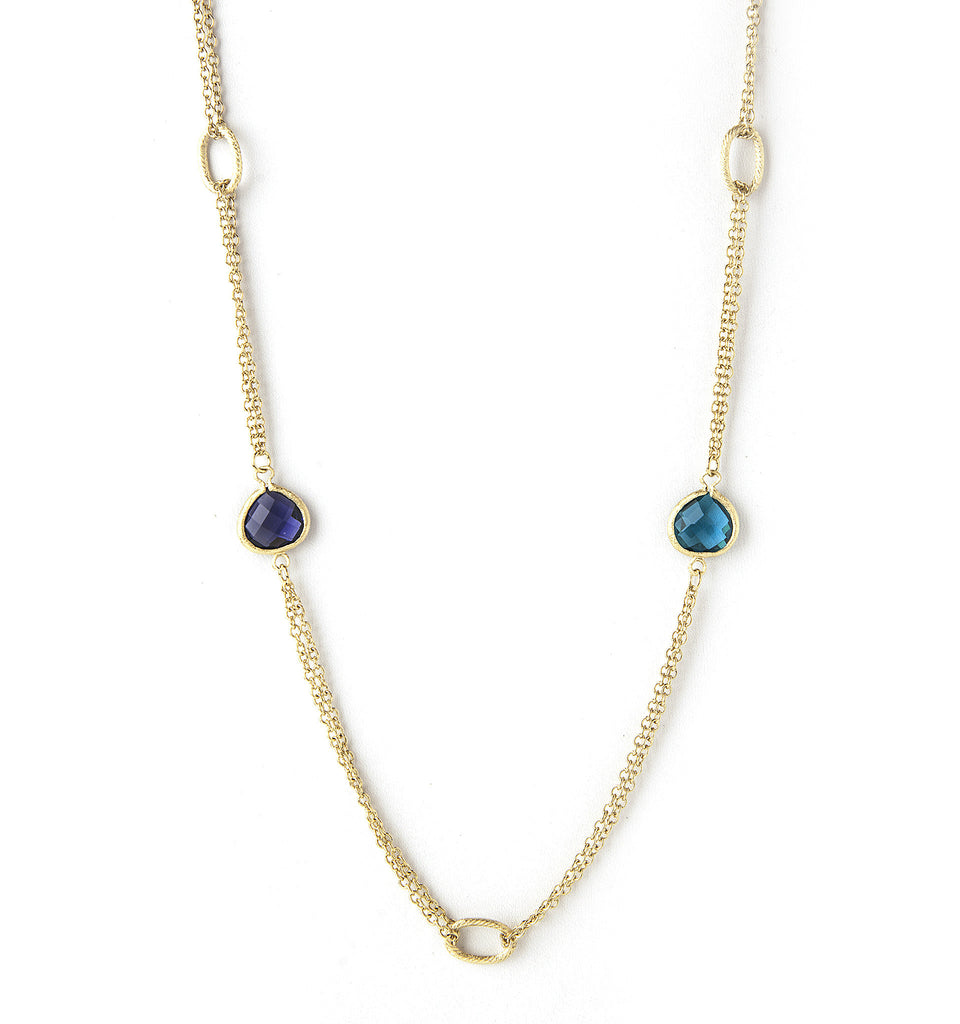 "Iolite + London Blue 38"" Station Necklace"