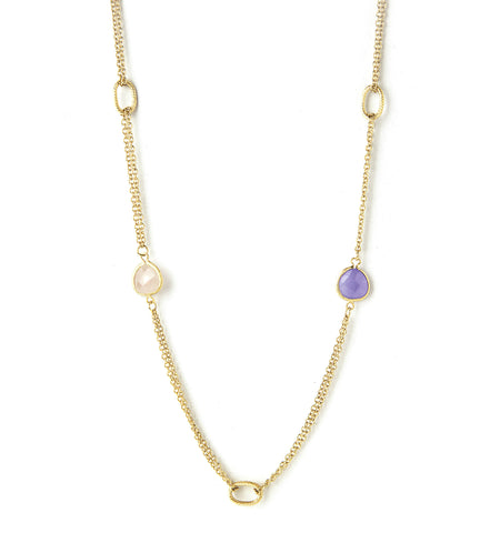 Rose Quartz + Lavender Quartz 2 Row Cable Link Station Necklace - Closeout