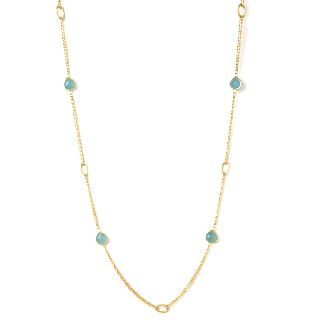 Caribbean Blue 2 Row Cable Link Station Necklace