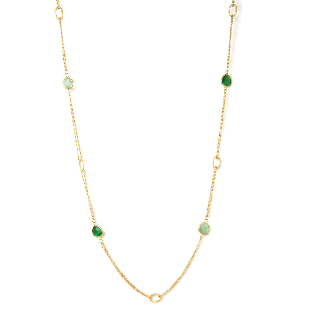 Cat's Eye Lime + Green 2 Row Cable Link  Station Necklace