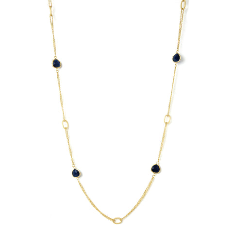 Cat's Eye Navy 2 Row Cable Link  Station Necklace