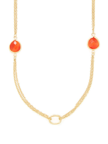 Cat's Eye Orange 2 Row Cable Link  Station Necklace