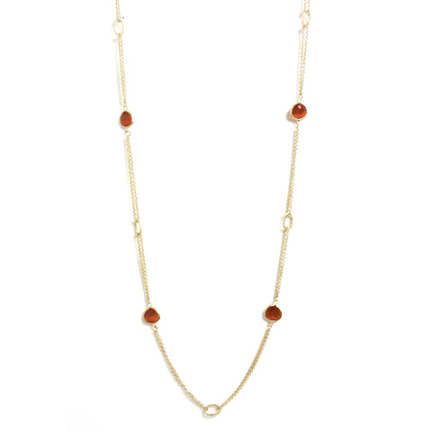 Orange Cat's Eye 2 Row Cable Link Station Necklace