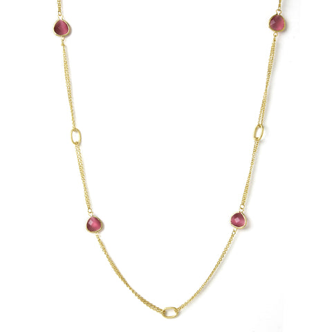 Cat's Eye Raspberry 2 Row Cable Link  Station Necklace