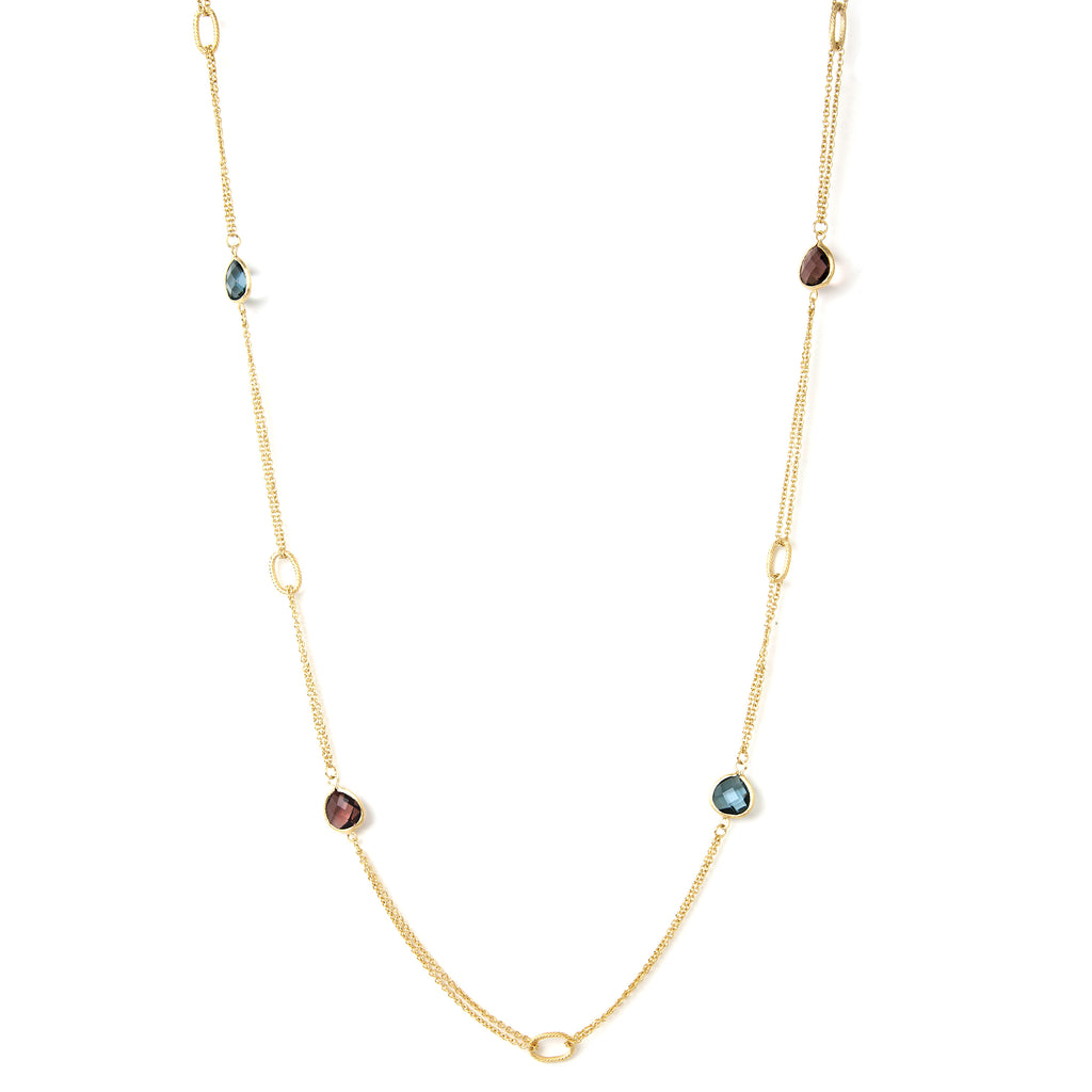 Denim Blue + Raspberry 2 Row Cable Link Station Necklace