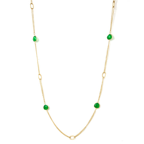 "Green Quartzite 38"" Station Necklace"