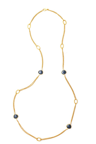 Hematite 2 Row Cable Link Station Necklace