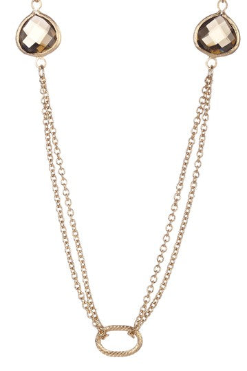 Smokey Crystal 2 Row Cable Link Station Necklace
