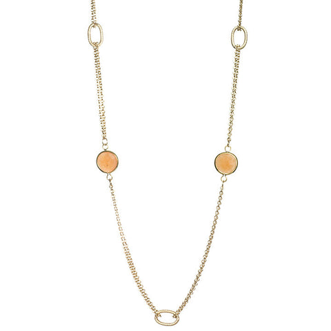 Orange Quartzite 2 Row Cable Link Station Necklace
