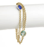 Poppy Blue, Sky Blue + Aquamarine 3 Row Bracelet