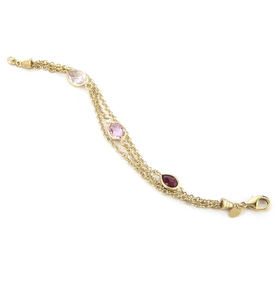 Rubellite, Candy Pink + Pink Sapphire 3 Row Bracelet
