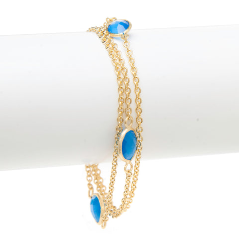 Aqua + Blue Cat's Eye 3 Row Station Bracelet