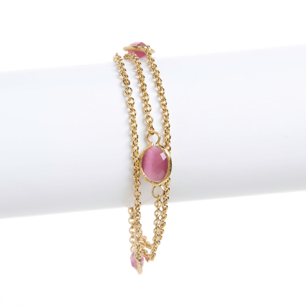 Raspberry Cat's Eye 3 Row Station Bracelet