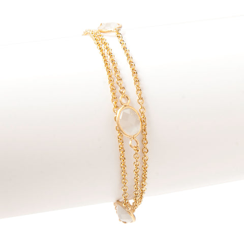White Cat's Eye 3 Row Station Bracelet
