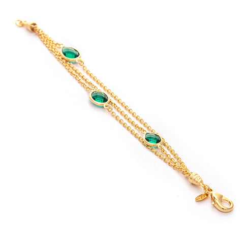 Emerald 3 Row Station Bracelet
